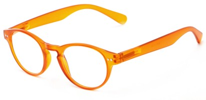 Angle of The Zealand in Matte Orange, Women's and Men's Round Reading Glasses