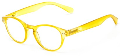 Angle of The Zealand in Matte Yellow, Women's and Men's Round Reading Glasses
