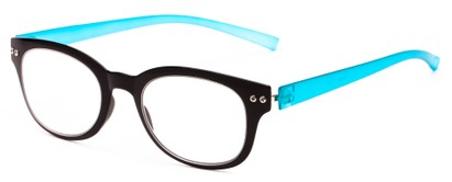 Angle of The Tangerine Flexible Reader in Black/Teal, Women's and Men's Oval Reading Glasses