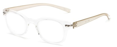 Angle of The Tangerine Flexible Reader in Clear/Gold, Women's and Men's Oval Reading Glasses