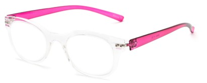 Angle of The Tangerine Flexible Reader in Clear/Pink, Women's and Men's Oval Reading Glasses