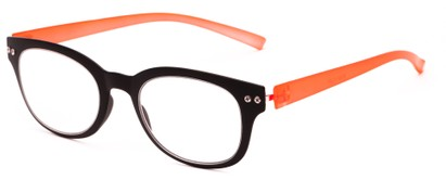 Angle of The Tangerine Flexible Reader in Black/Orange, Women's and Men's Oval Reading Glasses