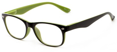 Angle of The Thatcher in Matte Black/Green, Women's and Men's Retro Square Reading Glasses