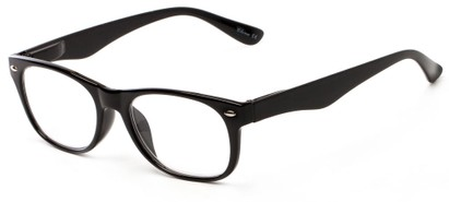 Angle of The Thatcher in Glossy Black, Women's and Men's Retro Square Reading Glasses