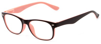 Angle of The Thatcher in Matte Black/Pink, Women's and Men's Retro Square Reading Glasses