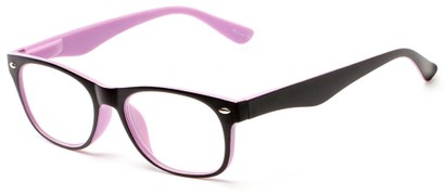 Angle of The Thatcher in Matte Black/Purple, Women's and Men's Retro Square Reading Glasses