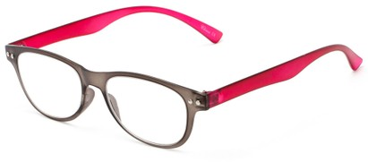 Angle of The Star Flexible Reader in Grey/Pink, Women's and Men's Rectangle Reading Glasses