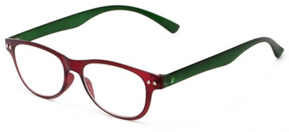 Angle of The Star Flexible Reader in Red/Green, Women's and Men's Rectangle Reading Glasses