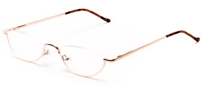 Angle of The Miles in Gold, Women's and Men's Oval Reading Glasses