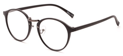Angle of The Rory in Matte Black, Women's and Men's Round Reading Glasses