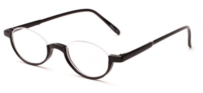 Angle of The Freesia in Black, Women's and Men's Oval Reading Glasses