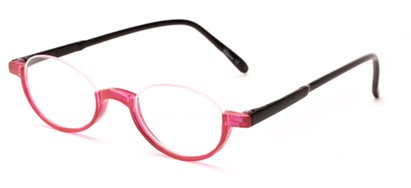 Angle of The Freesia in Pink/Black, Women's and Men's Oval Reading Glasses