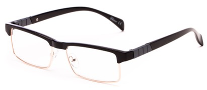 Angle of The Waldo in Glossy Black/Gold, Women's and Men's Rectangle Reading Glasses