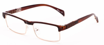 Angle of The Waldo in Glossy Brown/Gold, Women's and Men's Rectangle Reading Glasses