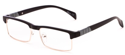 Angle of The Waldo in Matte Black/Gold, Women's and Men's Rectangle Reading Glasses