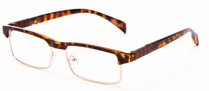 Angle of The Waldo in Glossy Tortoise/Gold, Women's and Men's Rectangle Reading Glasses