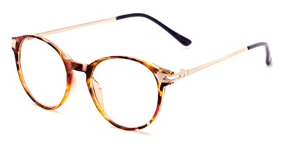 Angle of The Lola in Purple/Brown Tortoise, Women's Round Reading Glasses