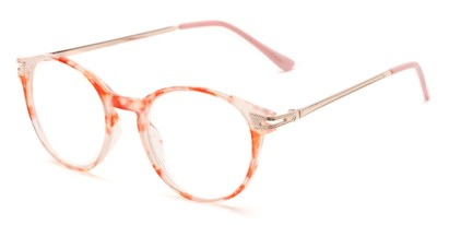 Angle of The Lola in Pink/White Tortoise, Women's Round Reading Glasses