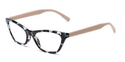 Angle of The Addy in Blue Tortoise/Tan, Women's Cat Eye Reading Glasses