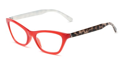 Angle of The Addy in Red/Black Tortoise, Women's Cat Eye Reading Glasses
