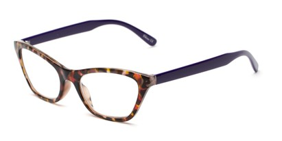 Angle of The Addy in Tortoise/Purple, Women's Cat Eye Reading Glasses