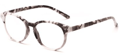 Angle of The Hibiscus in White/Grey, Women's and Men's Round Reading Glasses