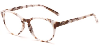 Angle of The Hibiscus in White/Brown, Women's and Men's Round Reading Glasses