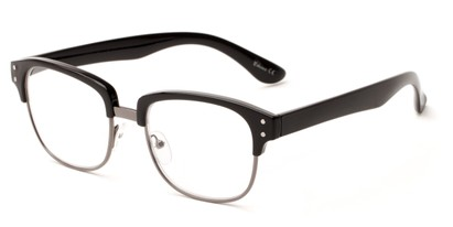 Angle of The Finnegan in Black/Grey, Women's and Men's Browline Reading Glasses