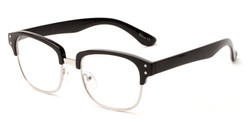 Angle of The Finnegan in Black/Silver, Women's and Men's Browline Reading Glasses