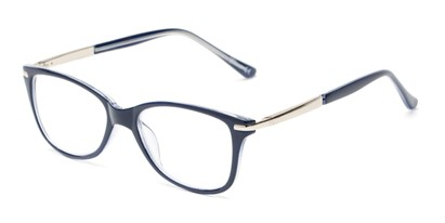 Angle of The Scranton in Blue, Women's Cat Eye Reading Glasses