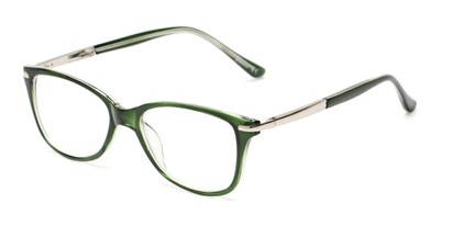 Angle of The Scranton in Green, Women's Cat Eye Reading Glasses
