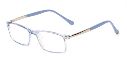 Angle of The Collector in Light Blue, Women's and Men's Rectangle Reading Glasses