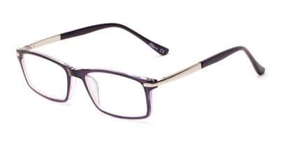 Angle of The Collector in Dark Purple, Women's and Men's Rectangle Reading Glasses