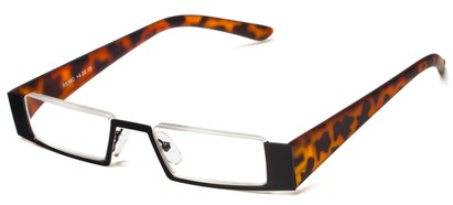 Angle of The Checker in Black/Tortoise, Women's and Men's Rectangle Reading Glasses