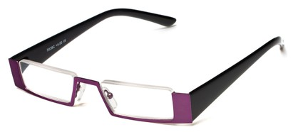 Angle of The Checker in Purple/Black, Women's and Men's Rectangle Reading Glasses