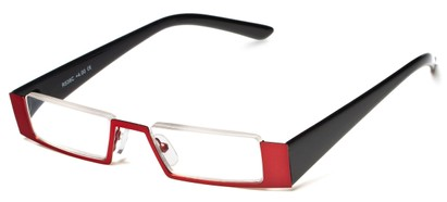 Angle of The Checker in Red/Black, Women's and Men's Rectangle Reading Glasses