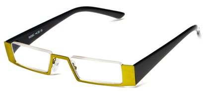 Angle of The Checker in Green/Black, Women's and Men's Rectangle Reading Glasses