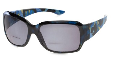 Angle of The Angelina Bifocal Reading Sunglasses in Blue/Black with Smoke, Women's Square Reading Sunglasses