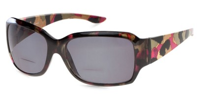 Angle of The Angelina Bifocal Reading Sunglasses in Black/Pink/Yellow with Smoke, Women's Square Reading Sunglasses