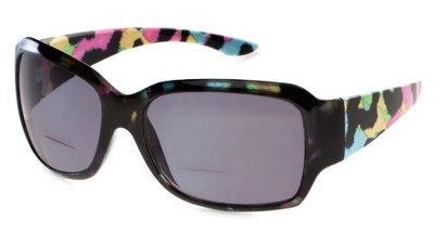 Angle of The Angelina Bifocal Reading Sunglasses in Black/Pink/Blue with Smoke, Women's Square Reading Sunglasses