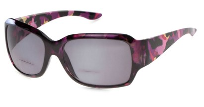 Angle of The Angelina Bifocal Reading Sunglasses in Purple/Pink with Smoke, Women's Square Reading Sunglasses
