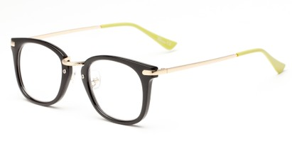 Angle of The River in Black/Lime, Women's and Men's Retro Square Reading Glasses
