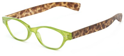 Angle of The Stratton in Green/Tortoise, Women's and Men's Oval Reading Glasses