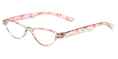 Angle of The Tulip in Pink Floral, Women's Cat Eye Reading Glasses