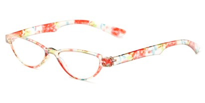 Angle of The Tulip in Red Floral, Women's Cat Eye Reading Glasses