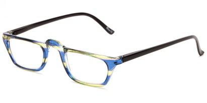 Angle of The Dolores in Blue/Green Stripes with Black, Women's Rectangle Reading Glasses