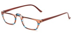 Angle of The Dolores in Brown/Blue Stripes with Brown, Women's Rectangle Reading Glasses