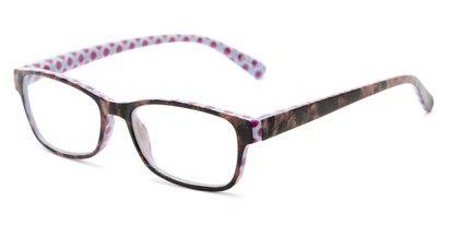 Angle of The Mildred in Blue/Purple Tortoise, Women's Rectangle Reading Glasses