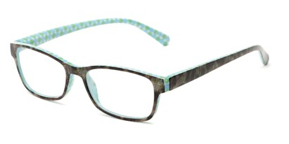 Angle of The Mildred in Blue/Green Tortoise, Women's Rectangle Reading Glasses
