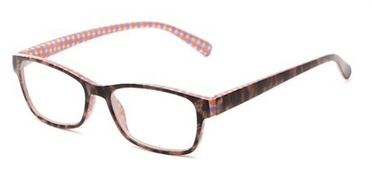 Angle of The Mildred in Purple/Orange Tortoise, Women's Rectangle Reading Glasses